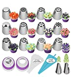Russian Piping Tips 27pcs Baking Supplies Set Cake Decorating Tips for Cupcake Cookies Birthday Party, 12 Icing Tips, 2 Leaf Piping Tips, 2 Couplers, 10 Pastry Baking Bags
