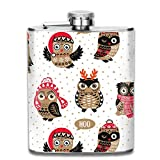 Cute Owls in Knitted Hats, Scarves and Reindeer Antlers Stainless Steel Flask Classic 7OZ Hip Flask Pocket Flagon Whiskey Wine Flagon Mug