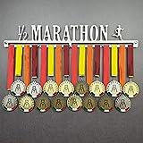 MEDALdisplay Half Marathon - Colgador de medallas Deportivas Masculino - Medallero de Pared Running, Corredor, Medio Maratón - Sport Medal Hanger (M 600 mm x 100 mm x 3 mm)