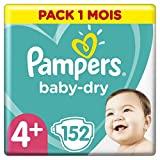 Couches Pampers Taille 4+ (10-15kg) - Baby Dry couches, 152 couches, Pack 1 Mois /NEW