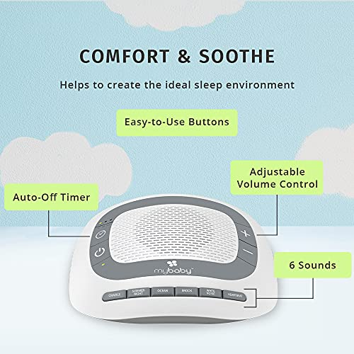 MyBaby SoundSpa White Noise Machine for Babies   6 Soothing Lullabies for Newborns, Sound Therapy for Travel, Relaxing, Kids, Newborns, Toddlers   Baby Songs, Adjustable Volume, Auto-off Timer