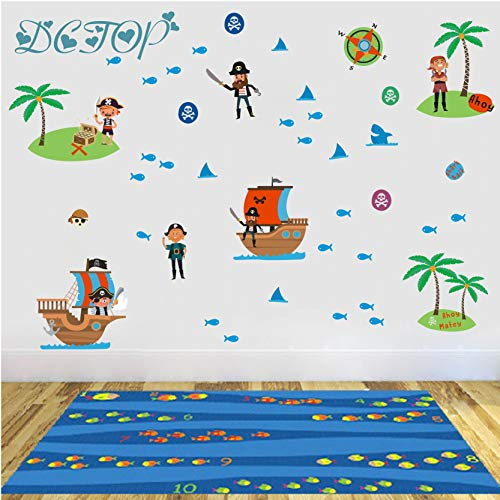 Barco pirata dibujos animados capitán marinero etiqueta
