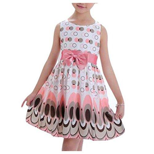 Xinxinyu Robes de Bébé, Mode Enfant Filles Robe de Princesse sans Manches Robe de Paon (4-5 Ans, Rose)