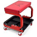 RACEFOXX Montagehocker, Boxenstuhl, Hocker, Werkstatt, Werkstattwagen, Werkstattstuhl mit 4 Rollen und weicher Sitzauflage