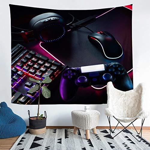 Loussiesd Manta de pared para juegos para niños, adolescentes, controlador de videojuegos, para colgar en la pared, moderna consola de videojuegos, auriculares, manta mediana de 137 x 127 cm