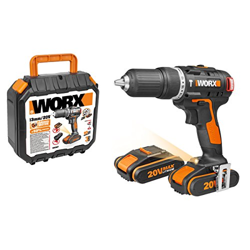 WORX WX384 Brushless Motor Cordless Combi Hammer Drill with...