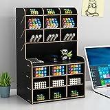 Organisateur de bureau en bois Boîte de support de stylo de papeterie de bureau multifonctionnelle pour rack de stockage de fournitures scolaires de bureau à domicile avec tiroir (Noir-b16-2)