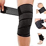 DreamPalace India 78 Inches Elastic Compression Weight Lifting Knee Wraps Perfect for Squats