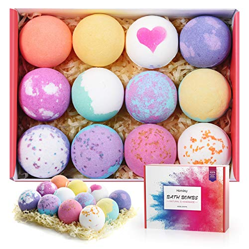 Homasy Bath Bombs, 12 Pcs Bath Bomb Gift Set with Natural Essential Oils, Shea Butter, Sea Salt, SPA Bubble Fizzies for Kids, Women, Mom, Girlfriend (12x2.5oz)