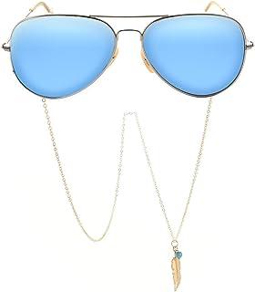 Yienate Bohême Chaînes de lunettes antidérapantes en alliage avec pendentif en forme de feuilles pour lunettes et accessoi...