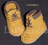 Patucos para bebé de crochet, Unisex. Botas Estilo Panamá, de color mostaza,...