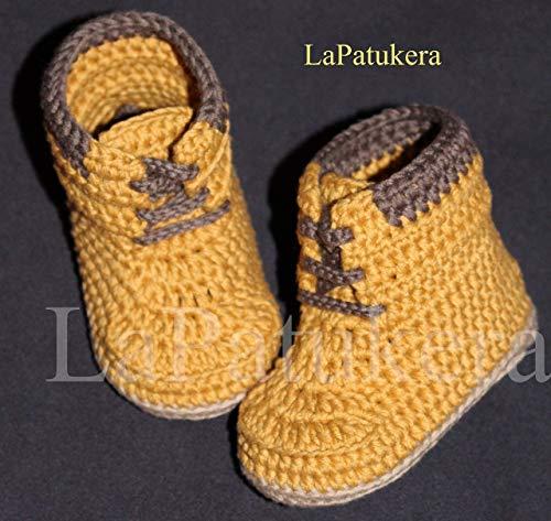 Patucos para bebé de crochet, Unisex. Botas Estilo Panamá, de ...