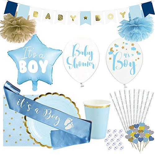 OLILLY Kit de decoración para un Baby Shower de niño - Estuche para 12 Personas con 116 artículos (Azul y Oro, 12 Personas)