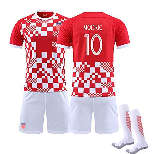 2020 Kinder Erwachsene Sommer Fußball Kroatien Trikot, RAKITIC 7 Modric10 MANDZUKIC 17 Fußballuniform, Trainingslager Set weicher Stoff, mit Socken, bestes Geschenk-NO10-S