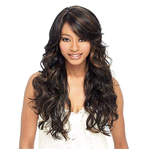 """GJJSZ Sexy Lady Full Wig 23""""Curly Medium Brown Hair Wig Natural Color Daily Dress"""