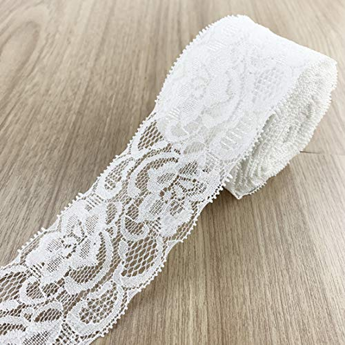 2 Inch White Lace Ribbon Sewing Lace Fabric Trim Elastic Stretchy Lace for Crafting 15 Yard