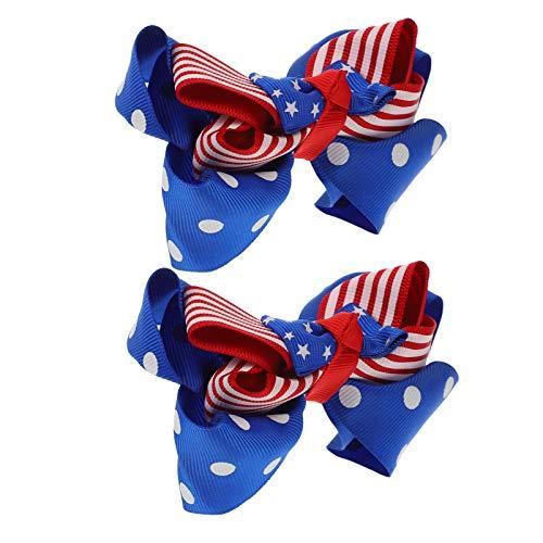 NUOBESTY US National Day Hår Bows Clips 2 Pcs Independence Day Bowknot Hår Clips National Day Hårnålar Barn Huvudlägen ( Vit Prick )
