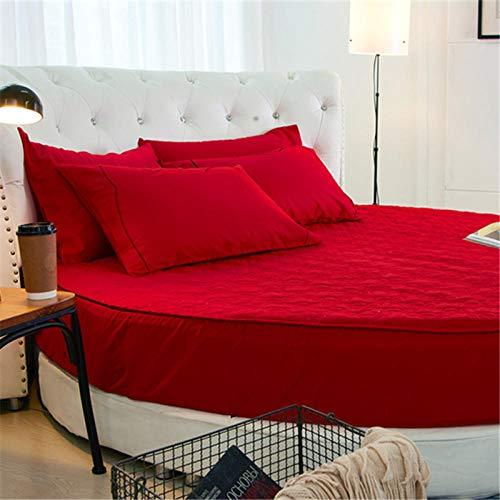 HPPSLT Protector de colchón/Cubre colchón Acolchado de Fibra antiácaros, Transpirable, Cama Redonda de algodón Color sólido Engrosamiento Rojo 1_1.6m