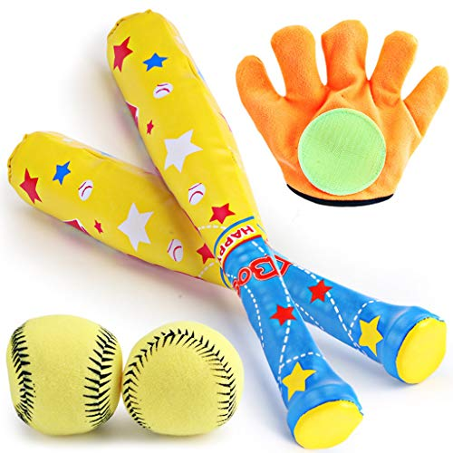 RK-HYTQWR Kids Baseball Toys Eva Soft Balls Bat Gloves Set Funny Outdoor Sports Play Toy Infant Throw Catch Ball Game,Ball Bat,Abs,Eva
