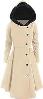 2019 Asymmetric Fleece Contrast Hooded Skirted Coat Women Winter Coats Outerwear Tops