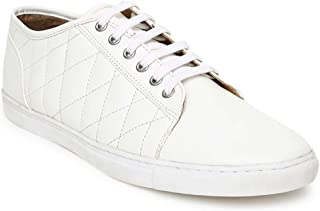 Couch Potato Quilted Solid White Men's Sneakers