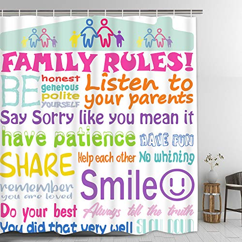 Family Rules Shower Curtain with 12 Hooks, Kids Shower Curtain, Bathroom Rules Shower Curtain for Kids, Waterproof Fabric Inspirational Quote Shower Curtain for Bathroom, 69 x 70 Inches