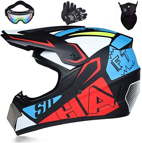 Motocross Helme,Downhill Helme Jet Helme,MTB Helme/Rennrad helme,Enduro Helme Integral Helme,Helmets Kinder-Cross-Helm, Road Helm mit Handschuhe Maske Brille (M (56cm-57cm))