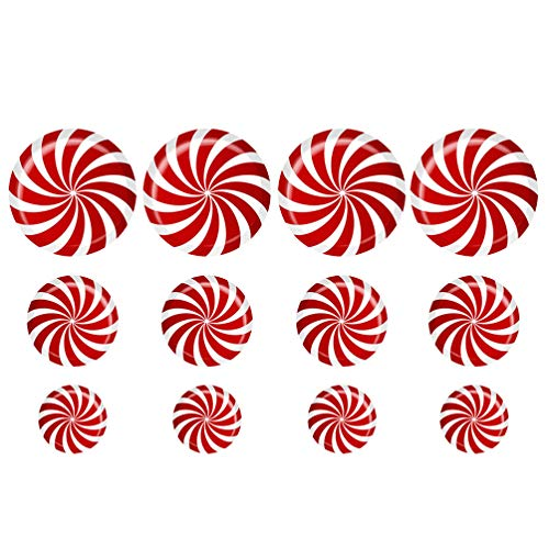 Amosfun Kerstmis Vloer Stickers Verwijderbare Snoep Decals voor Candy Party Kerstmis Wandvloer Decoratie benodigdheden 2 Vellen