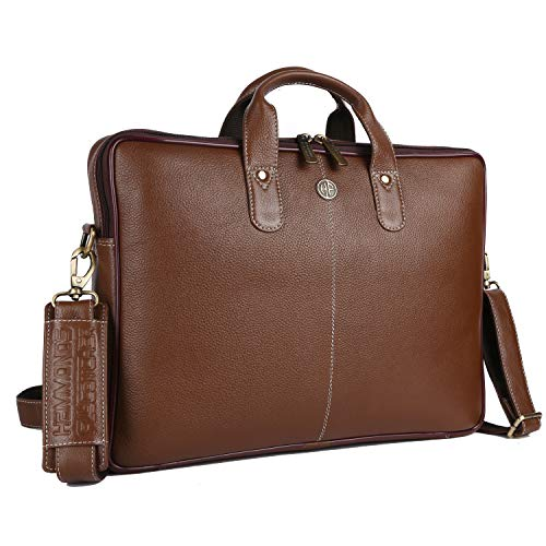 Hammonds Flycatcher Original Bombay Brown Leather 15.6 inch Laptop Messenger Bag|Padded Laptop Compartment|Office Bag (L=15.6,B=3.75,H=10.75 inch) LB106 (Brushwood)
