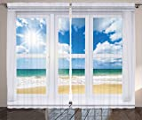 Ambesonne Beach Curtains, Beach House Window Overlooking Ocean View Sunshine and Sandy Cloudscape, Living Room Bedroom Window Drapes 2 Panel Set, 108' X 84', Brown Teal
