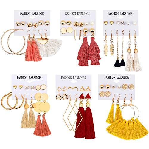 36 paia di orecchini pendenti a forma di nappa a strati lunghi con sfera a filo, orecchini a perno in stile bohémien, con nappa, alla moda, per donne, ragazze, San Valentino, feste di compleanno
