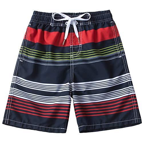Kute 'n' Koo Boys Swim Trunks, UPF 50+ Quick Dry Striped Boys Swim Shorts, Boys Bathing Suit (5/6, Striped 4)