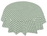 Home Direct Mantel de Hule, Redondo 140 cm Lunares Verde Salvia