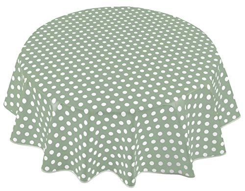 Home Direct Mantel de Hule, Redondo 140 cm Lunares Verde Salvia 🔥