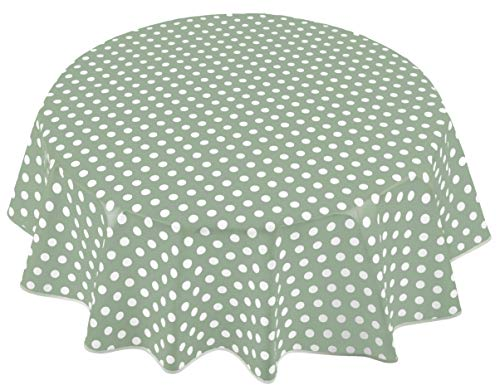 Home Direct Mantel de Hule, Redondo 140 cm Lunares Verde Salvia