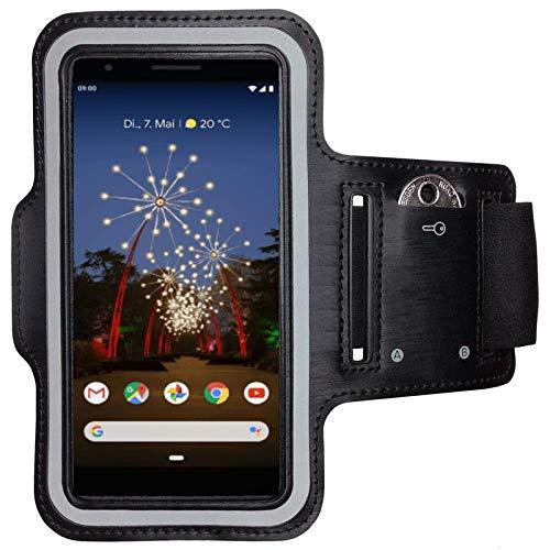CoverKingz Armtasche für Google Pixel 3a Sportarmband mit Schlüsselfach, Laufarmband Fitness, Handy Armband Schwarz