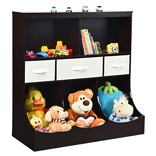 Costzon 3-Tier Kids Bookcase Toddler Storage Organizer Cabinet Shelf w/ 8 Compartment Box and 3 Removable Drawers for Children, Freestanding Storage Unit for Bedroom Decor Room (Espresso)