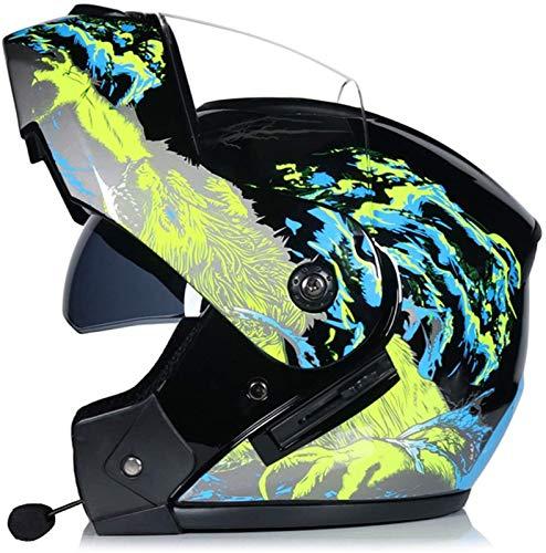ZLYJ Casco De Moto Modular con Bluetooth, Abatible hacia Arriba, Casco Integral, Ligero, con Doble Visera, Cascos De Motocross Aprobados por ECE para Adultos F,L
