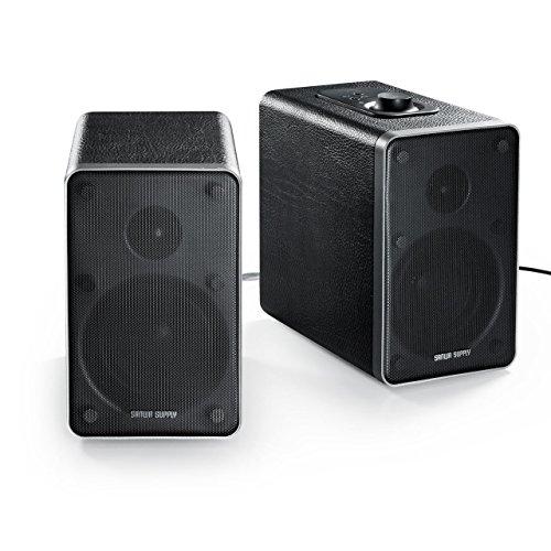サンワダイレクト Bluetoothスピーカー PCスピーカー 高音質 AAC/apt-X 木製 2chスピーカー 有線対応 NFC対応 48W 400-SP071BK