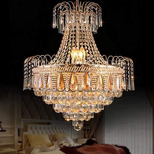 Cretifity Empire Crystal Chandelier, Luxury 8-Light Raindrop Pendant Chandelier with K9 Crystal Ball, E12 Socket, Golden Crystal Chandelier Lights for Dining Living Room Hallway Foyer (Dia 19.7\