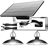Solar Shed Light Outdoor Indoor with Dual Head JACKYLED Solar Powered Pendant Lamp IP65 Waterproof LED Chicken Coop Hanging Night Lighting for Gazebo Storage Barn Porch Balcony Carport, Cool White