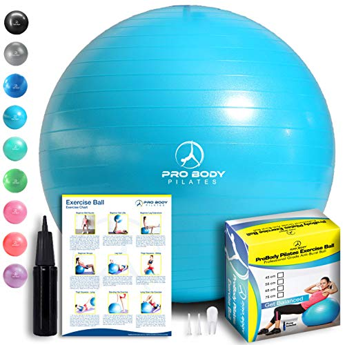 ProBody Pilates Exercise Ball - Professional Grade Anti-Burst Fitness, Balance Ball for Yoga, Birthing, Stability Gym Workout Training and Physical...