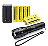 EILONG LED High Lumen 18650 Flashlight,6-Pack 3.7V High Capacity Rechargeable Battery and Charger,Small and Super Bright LED Tactical Torch Light, Adjustable Brightness