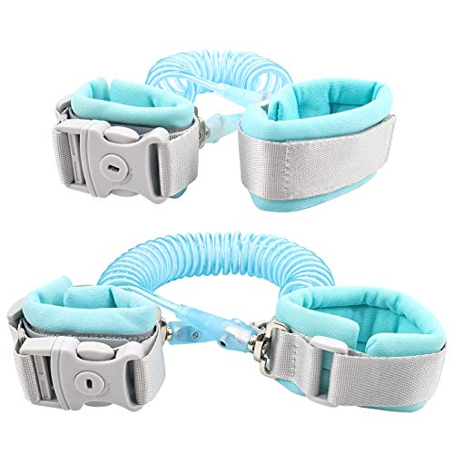 Toddler Leash for Kids Walking Safety | Child Wrist & Hand Leash for Baby & Kids - Anti-Cut Version with Safety Lock and Key - 2Pack (Light Blue, 4.9FT+8.2FT)