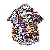 Camisa de Solapa para Hombre con Estampado de Personalidad, Ajuste Holgado, cómoda Camisa de Manga Corta, Retro, Informal, Hip-Hop, Camisetas de Calle XX-Large