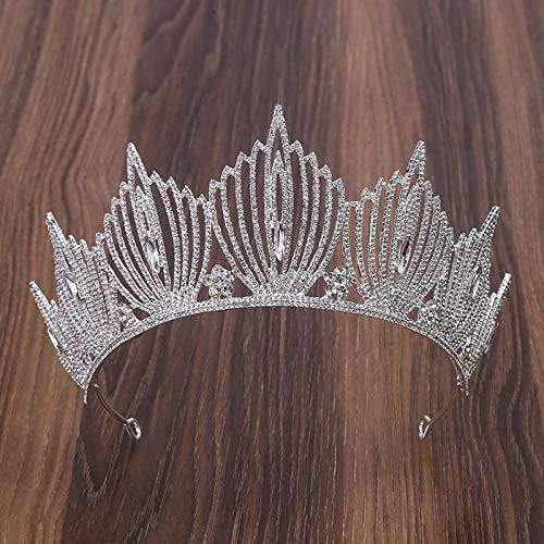WOTEMAILE Damen Strass Krone Hochzeit Braut Legierung Überzug Kopfschmuck