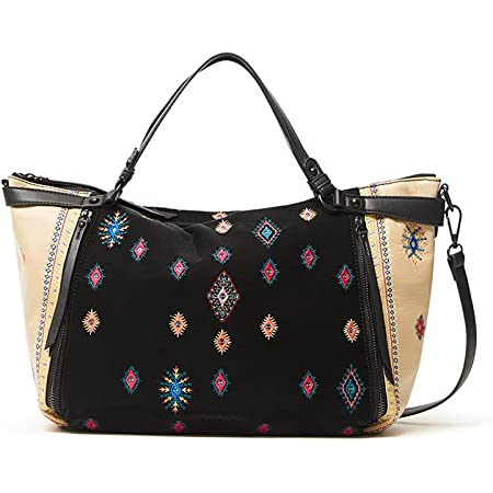 Desigual Womens BOLS_July TRIBU LIBIA Hand Bag, Black, One Size
