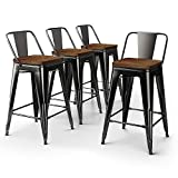 VIPEK Metal Bar Stools Counter High Barstool Chairs with Solid Wood Top Seat Set of 4 Low Back 24 Inch Seat Height Home Kitchen Dining Bar Chairs Patio Bar Stool, Gloss Black