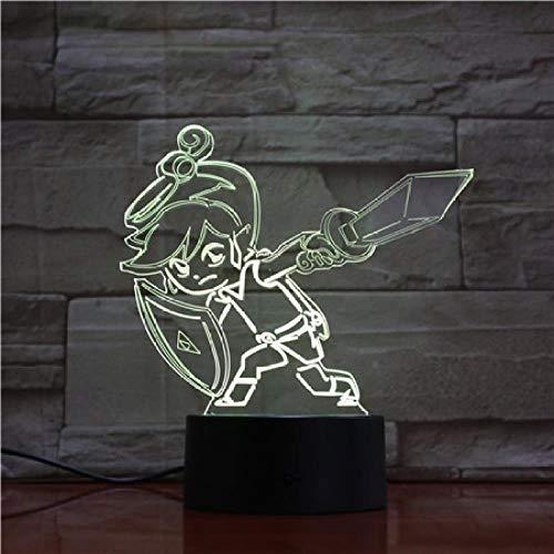 jiwenhua Luz nocturna 3D Serie Juego Led Colorido Táctil Lámpara de mesa, 101, Control Remoto Grieta Touch 16 Colores