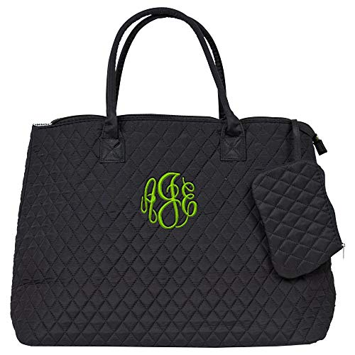 Personalized Womens Black Quilted Large Tote Bag